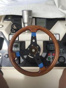 Steering wheel on flybridge