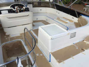 Painting the flybridge on a Viking Yacht