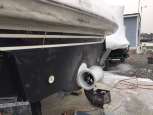 Stern thruster addition to a 50' Viking Sport Cruiser